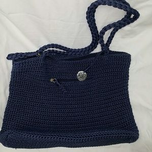 THE SAK Blue Crochet Knit Braided Double Strap Bag